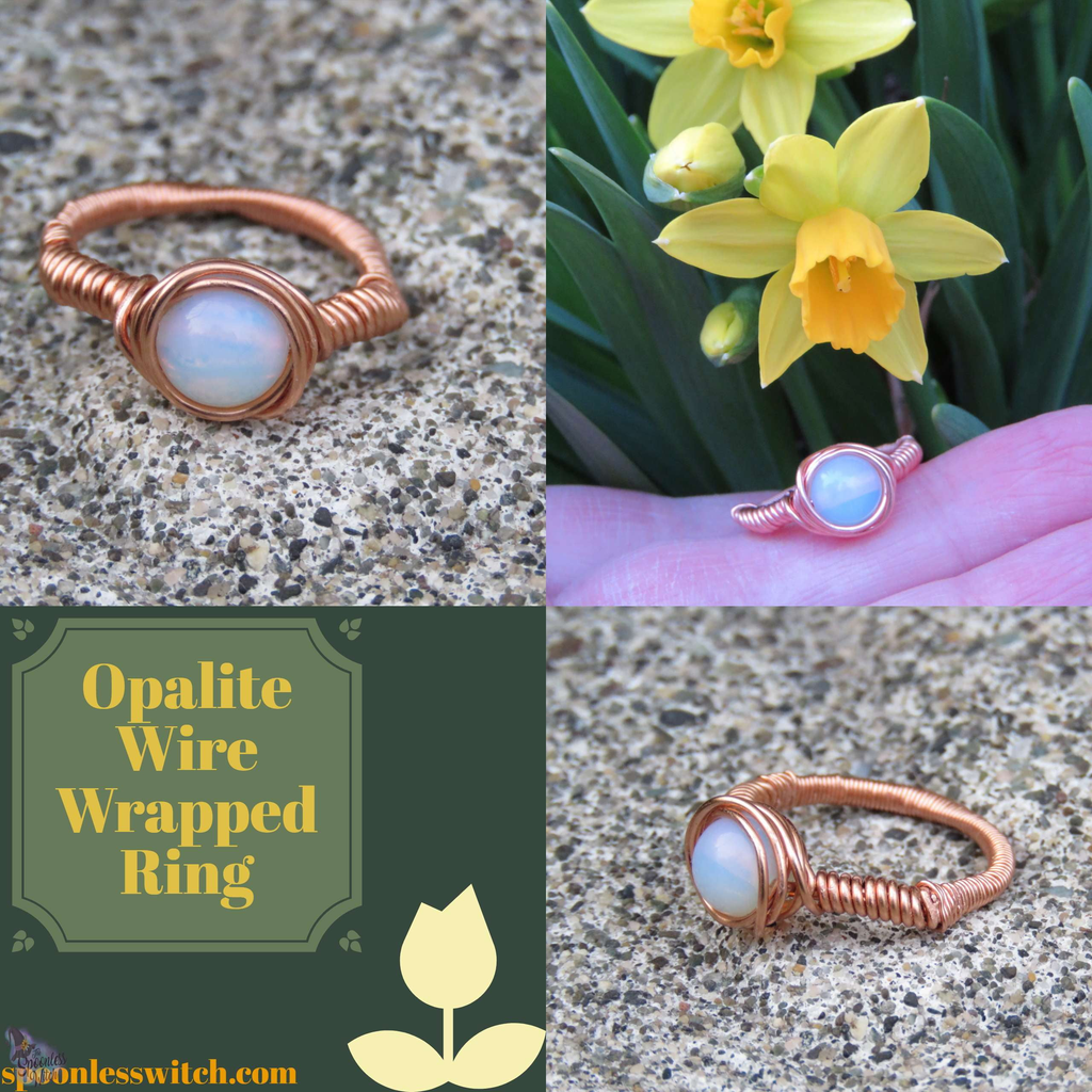 Opalite Wire Wrapped Ring at The Spoonless Witch