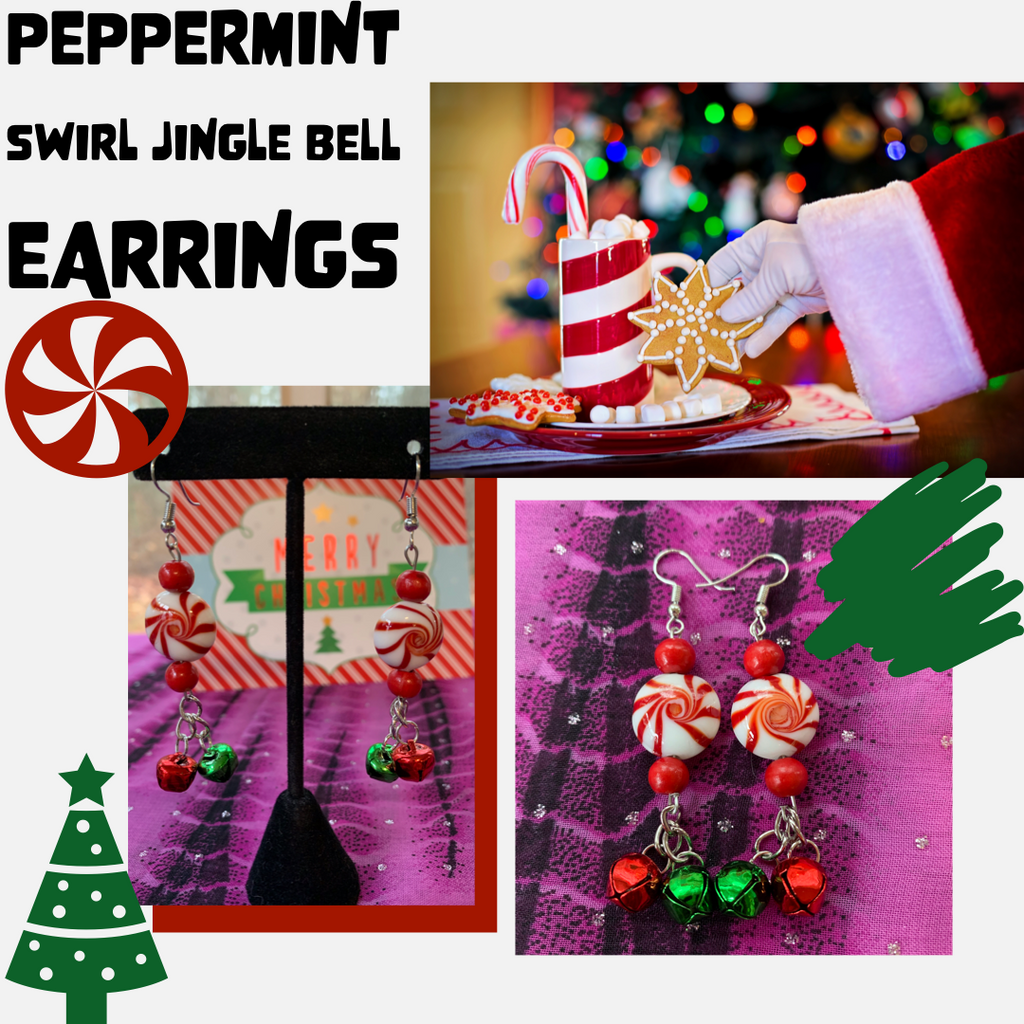 Peppermint Swirl Jingle Bell Earrings