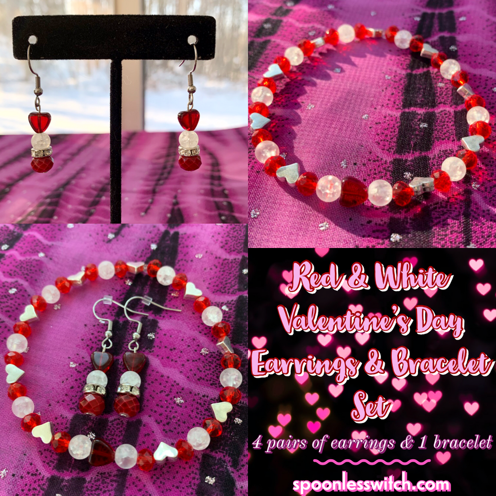 Red & White Valentine's Day Earrings & Bracelet Set
