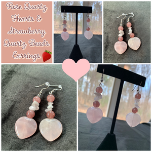Rose Quartz Hearts & Strawberry Quartz Beads Earrings - The Spoonless Witch