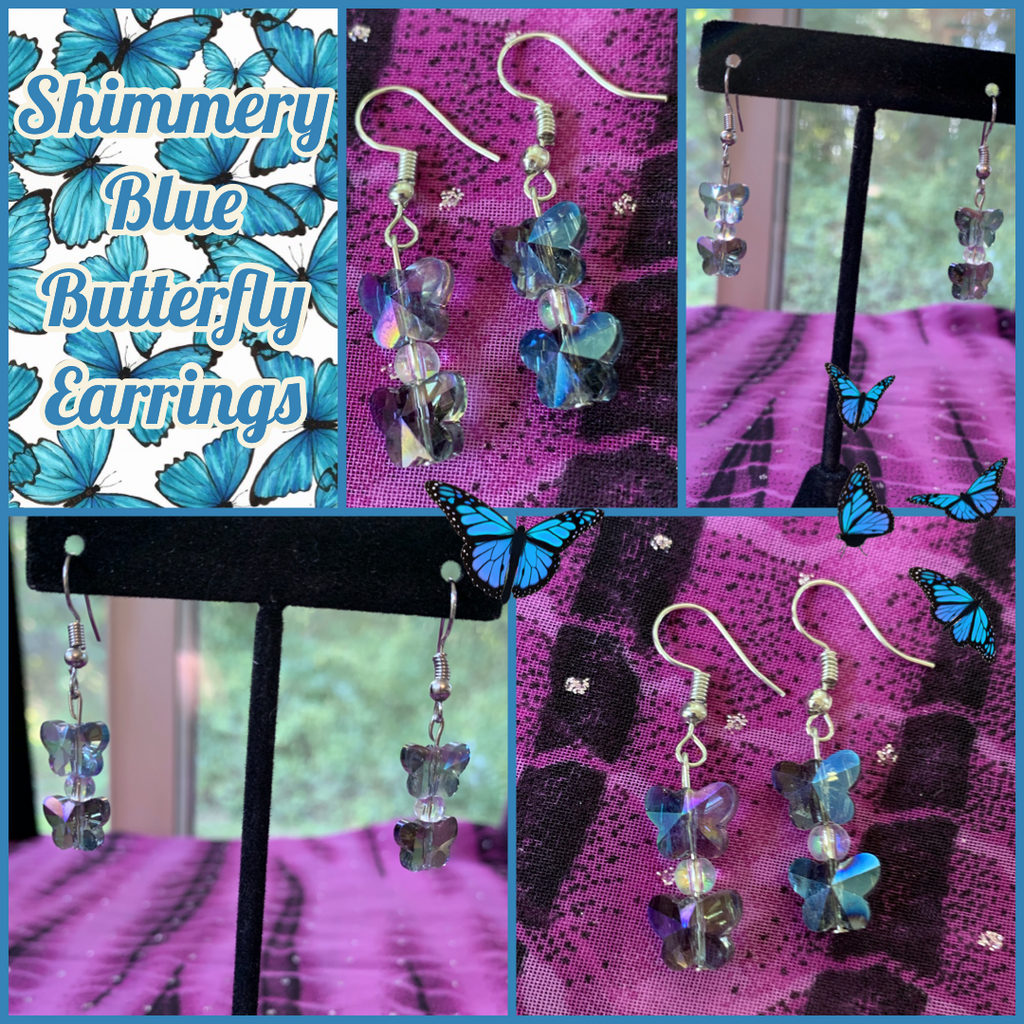 Shimmery Blue Butterfly Earrings