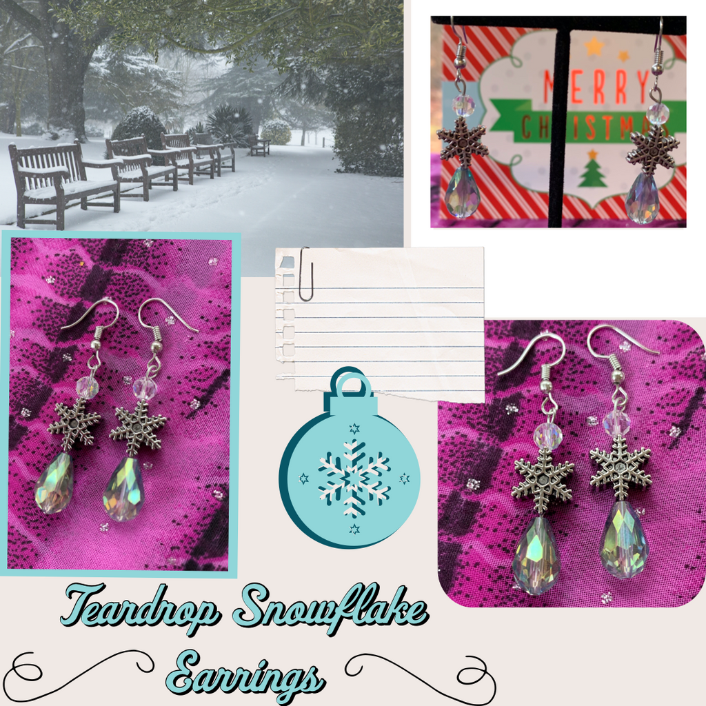 Teardrop Snowflake Earrings