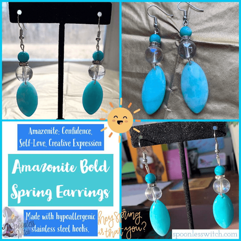 Amazonite Bold Spring Earrings - The Spoonless Witch