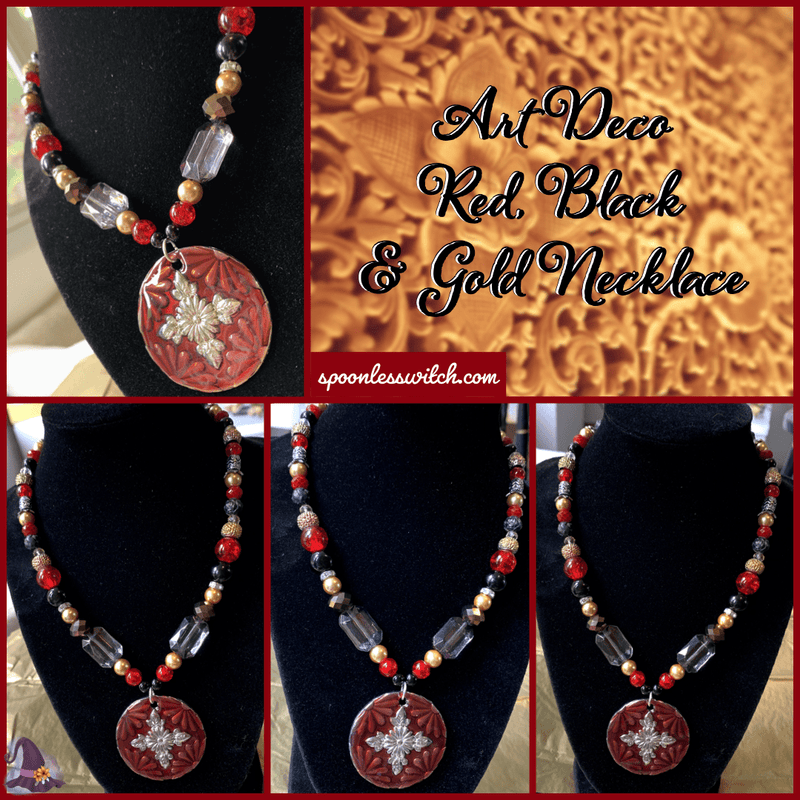 Art Deco Red, Black & Gold Necklace - The Spoonless Witch