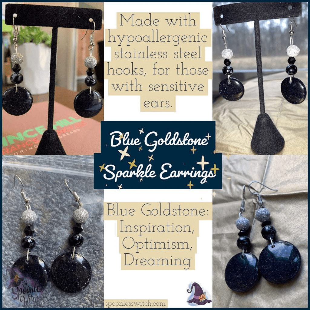 Blue Goldstone Sparkle Earrings