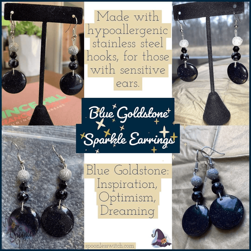 Blue Goldstone Sparkle Earrings - The Spoonless Witch