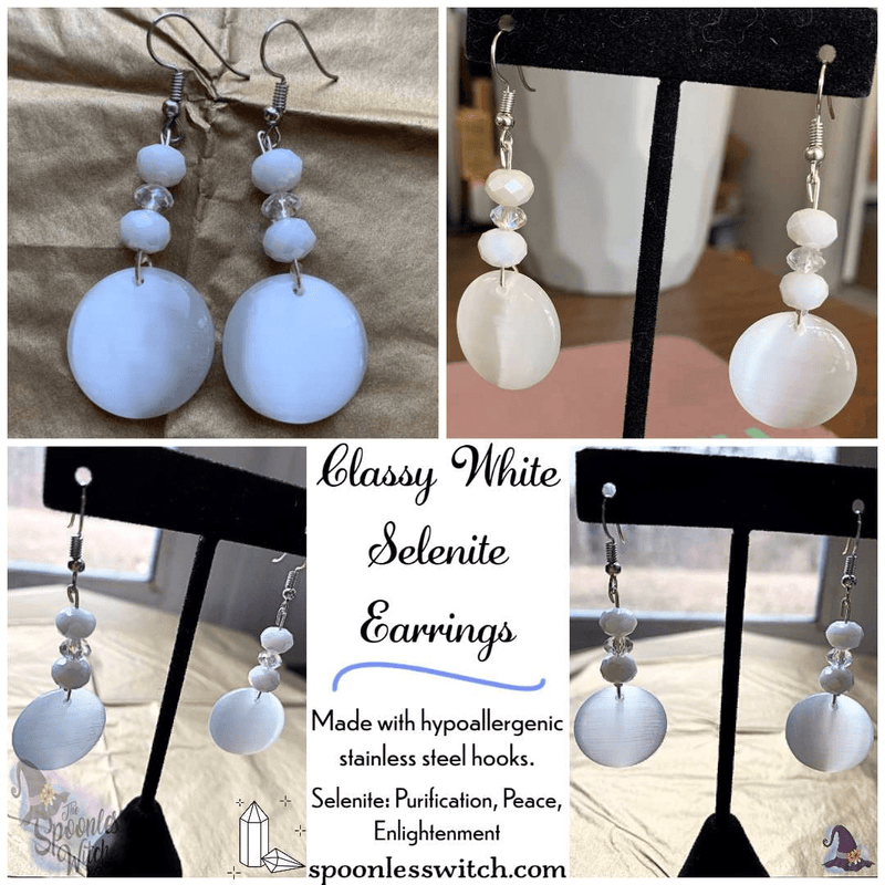 Classy White Selenite Earrings - The Spoonless Witch