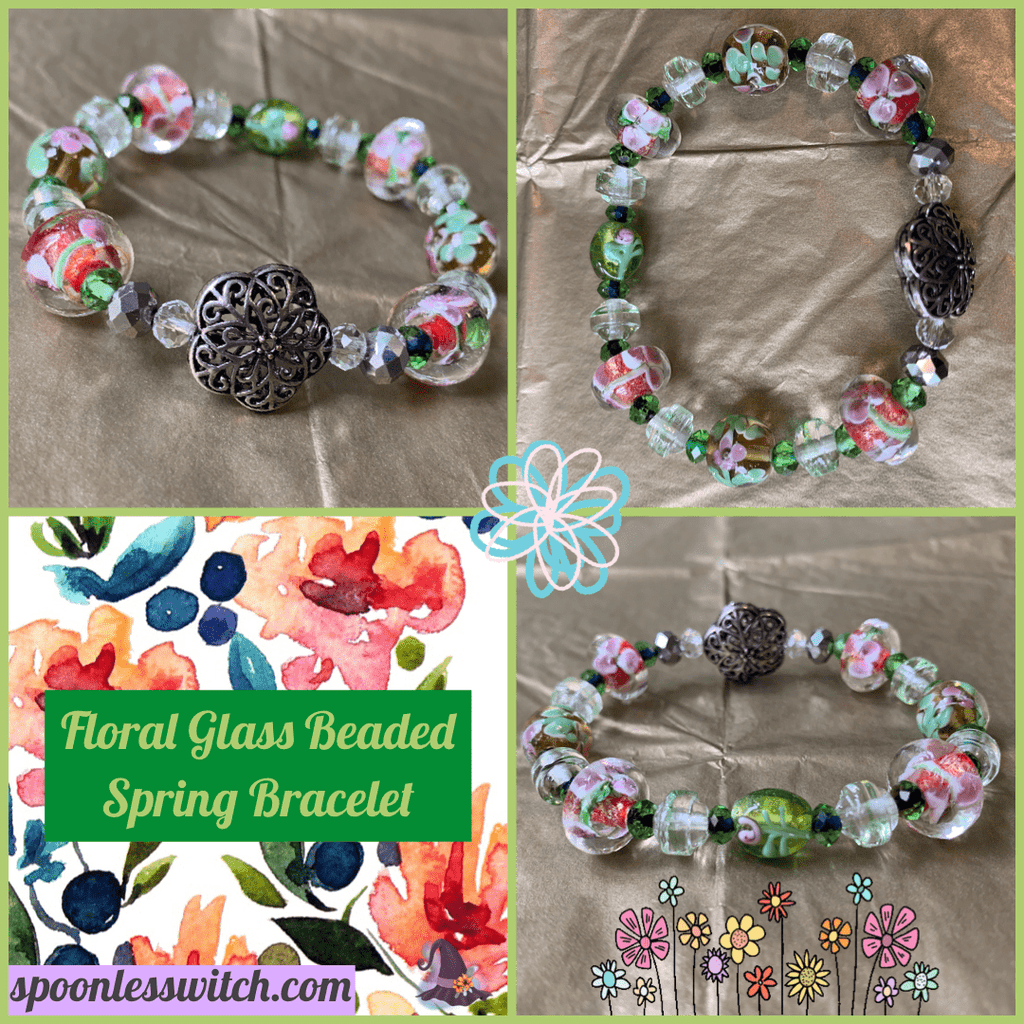 Floral Glass Beaded Spring Bracelet - The Spoonless Witch