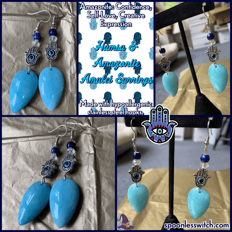 Hamsa & Amazonite Amulet Earrings - The Spoonless Witch