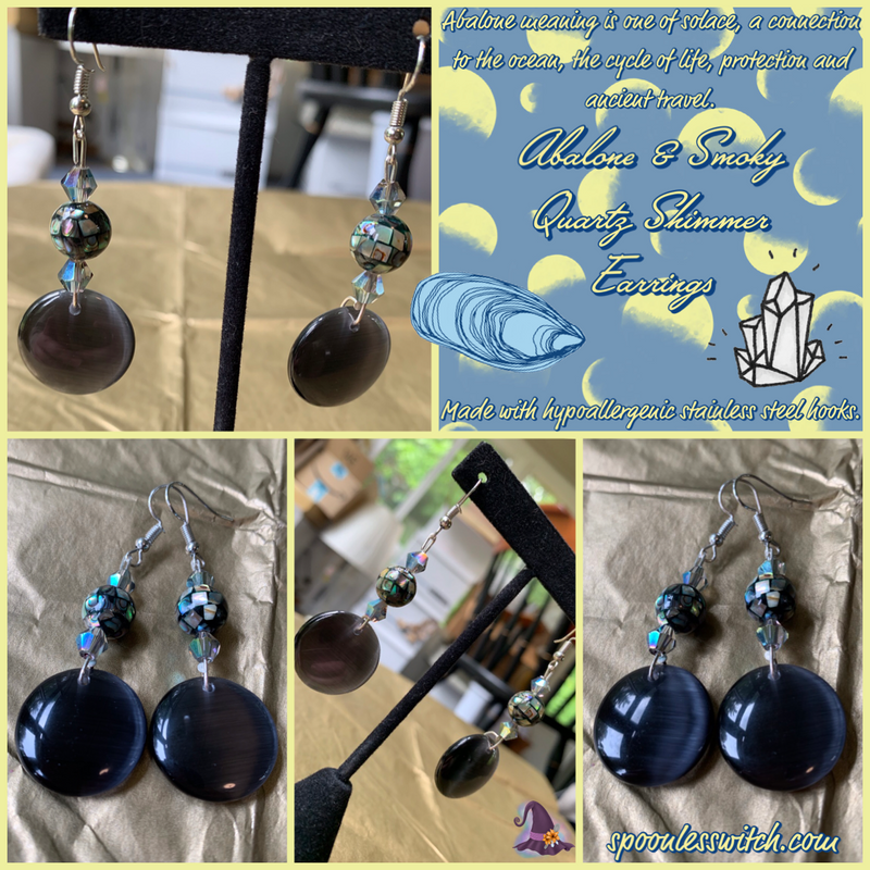 Abalone & Smoky Quartz Shimmer Earrings