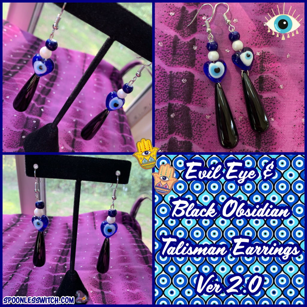 Evil Eye & Black Obsidian Talisman Earrings ver 2.0
