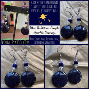 Blue Goldstone Simple Sparkle Earrings - The Spoonless Witch