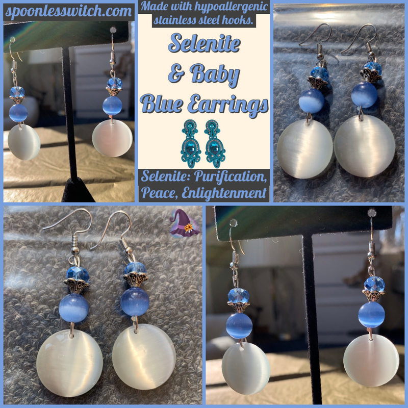 Selenite & Baby Blue Earrings