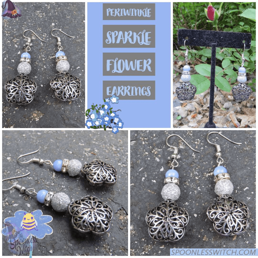 Periwinkle Sparkle Flower Earrings at The Spoonless Witch Hypoallergenic Earrings