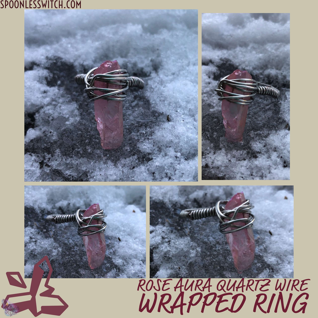 Rose Aura Quartz Ring - The Spoonless Witch