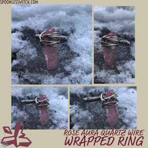 Rose Aura Quartz Ring at The Spoonless Witch