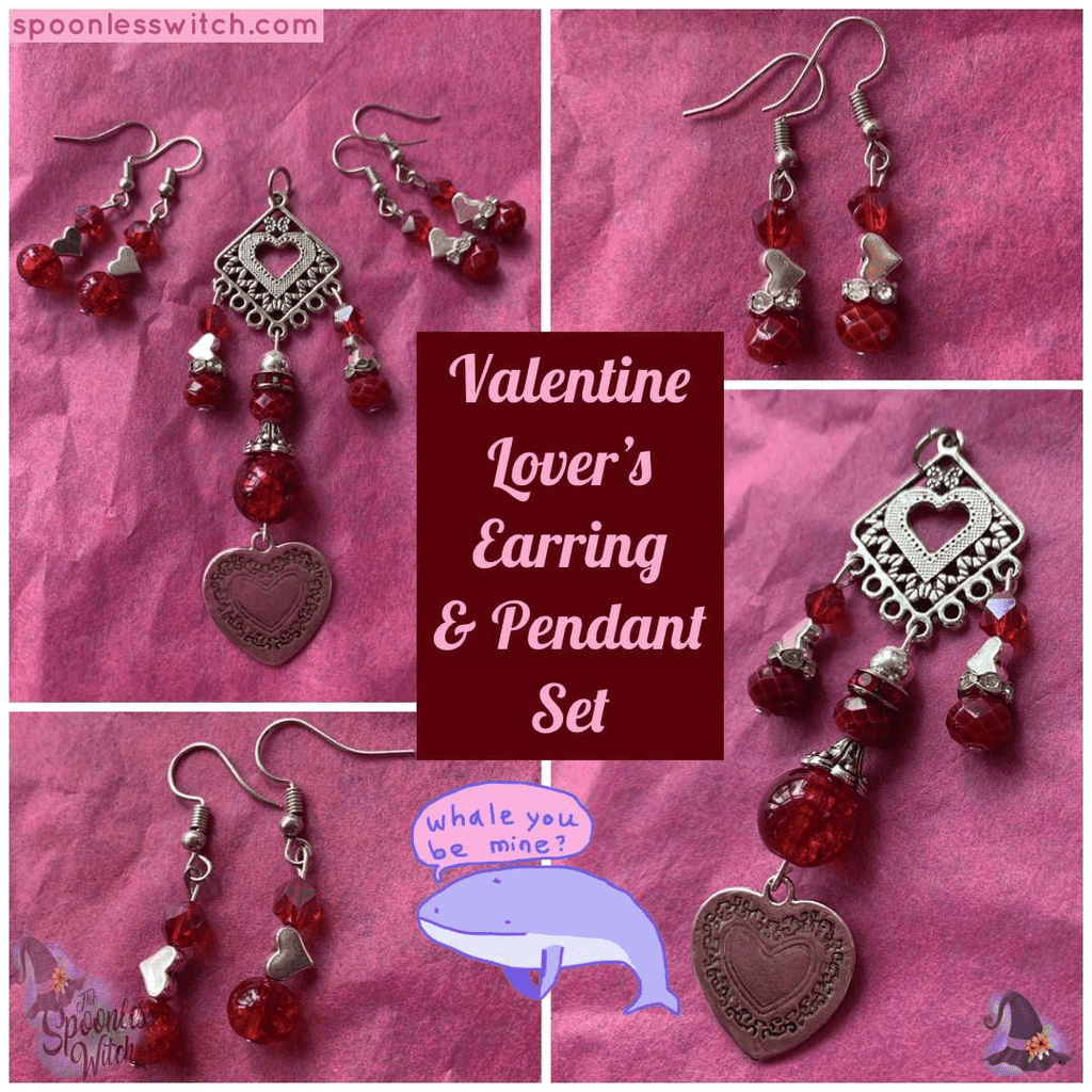 Valentine Lover's Earring & Pendant Set - the-spoonless-witch