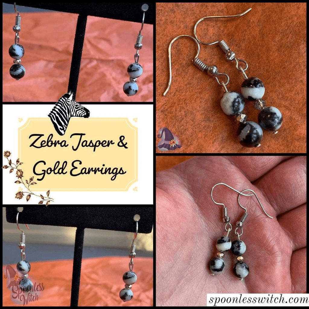 Zebra Jasper & Gold Earrings - The Spoonless Witch