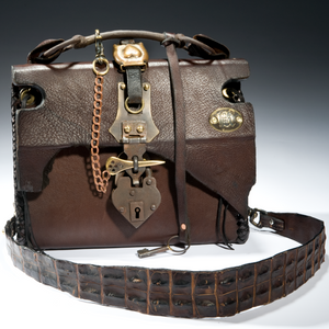 Buffalo-leather-handbag-brown-brass-heart-hardware-alligator-strap-heyltje-rose