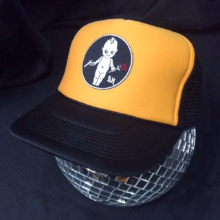 Black & Yellow Trucker Hat with kewpie doll holding gun and rose embroidered patch Berserker Baby Patch on disco ball side view - Heyltje Rose Shop