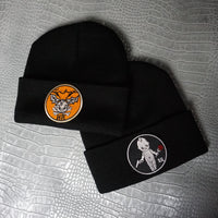 Black Beanie Hat with Baby Patch