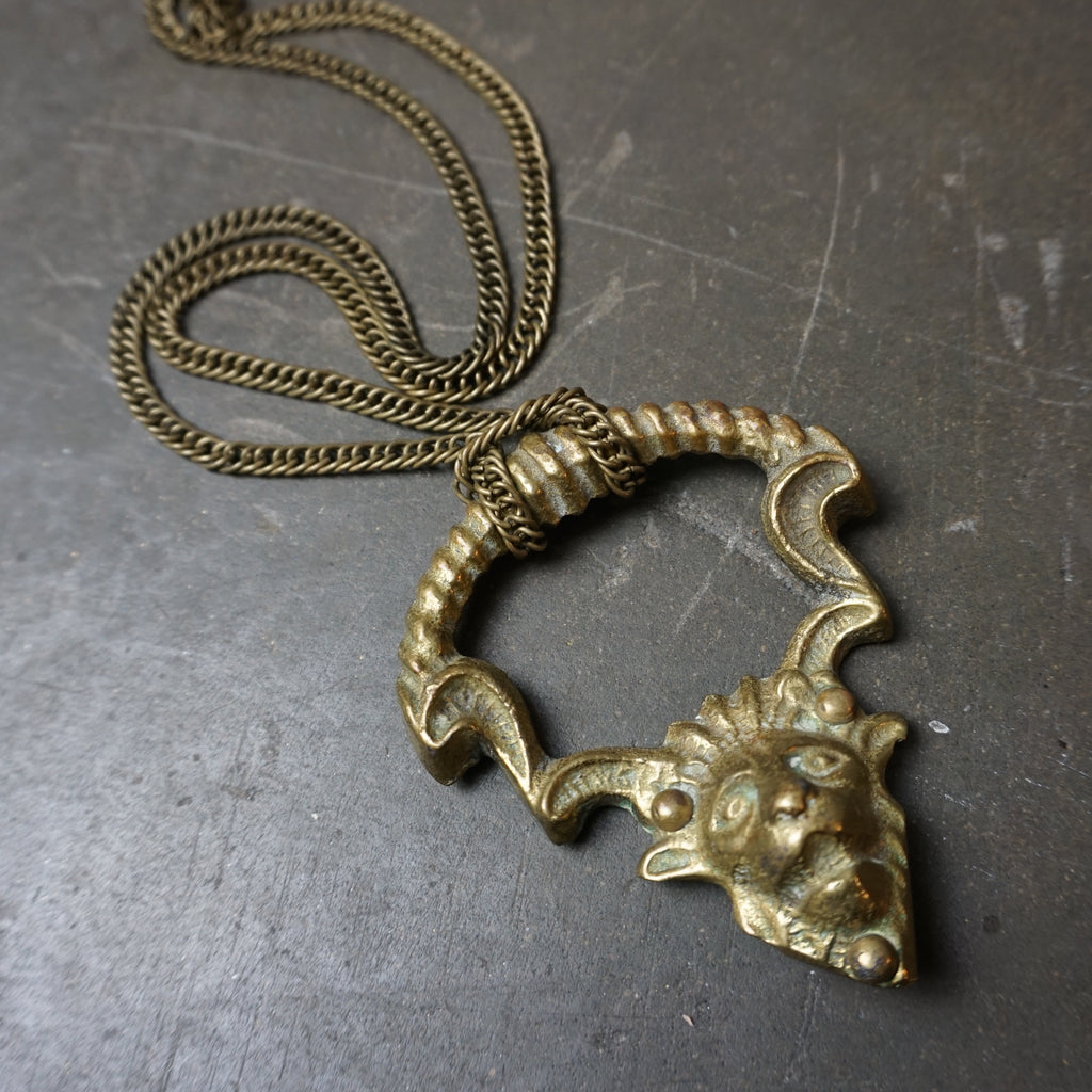Brass Lioness Necklace