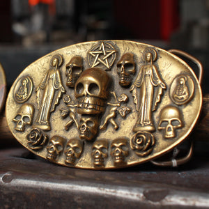 Saints & Sinners Brass Belt Buckle - Heyltje Rose Shop