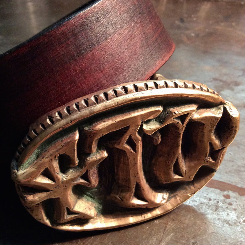 carved wax hand cast Brass FTW forever two wheels biker Belt Buckle on leather belt - Heyltje Rose Shop