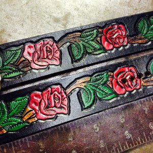 Leather Cuff with Roses - Heyltje Rose Shop