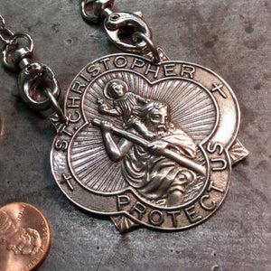 Large Saint Christopher Badge Necklace - Heyltje Rose Shop