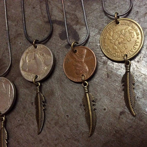 Coin with Feather Necklaces