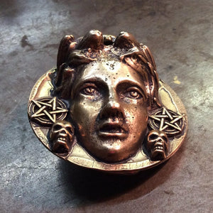 Solid Brass Goddess Belt Buckle