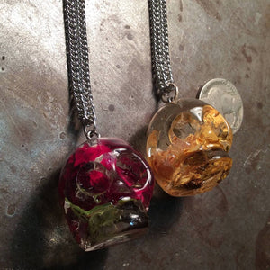 Large Rose in Skull Necklace