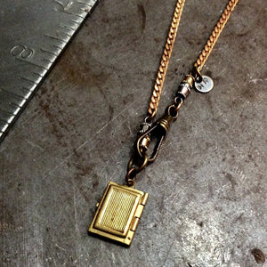 Brass Book Locket Necklace - Heyltje Rose Shop