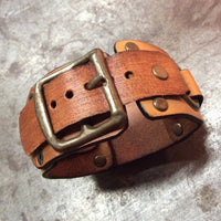 Light Brown Leather Cuff with Bronze FTW
