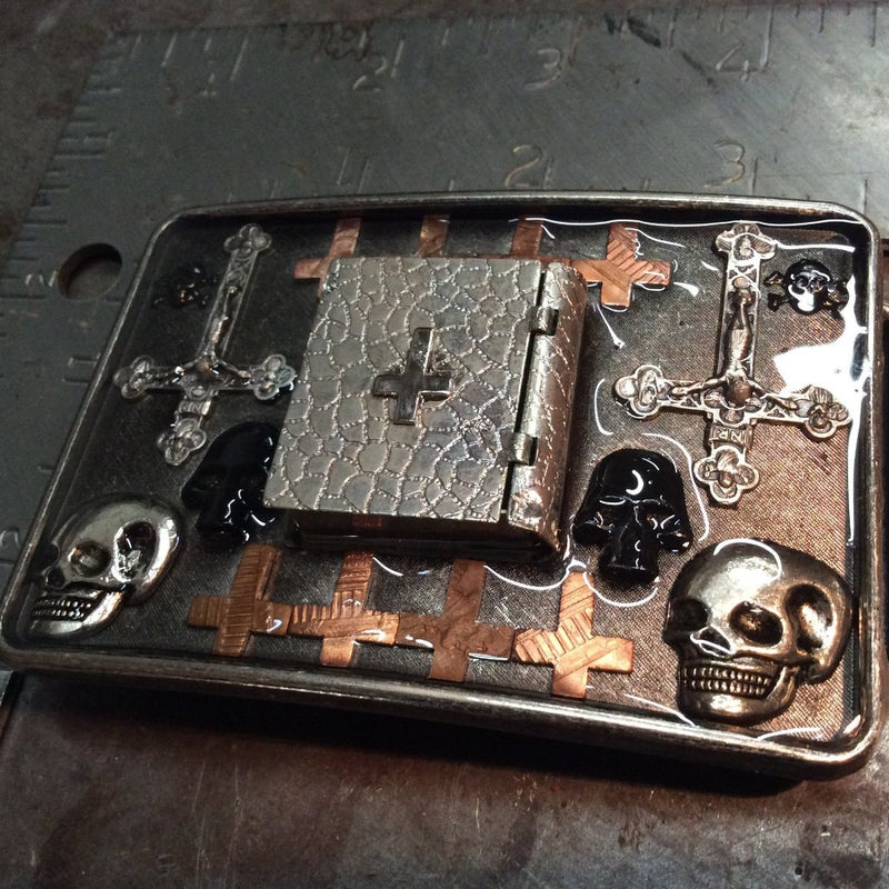 Inverted Cross Stash Box Belt Buckle