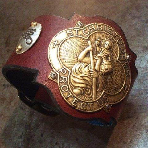 Saint Christopher Leather Cuff
