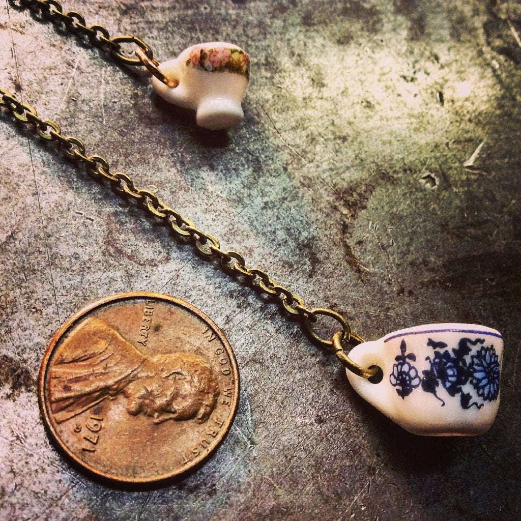 Miniature Porcelain Tea Cup Lariat Necklace
