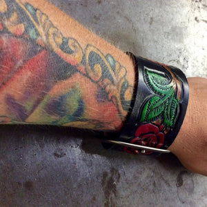 Red Rose Leather Cuff