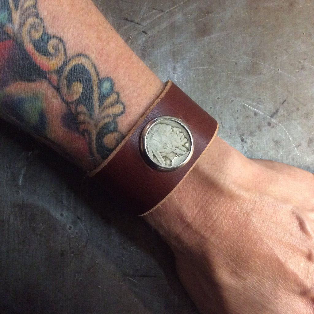 Buffalo Nickel Brown Leather Cuff