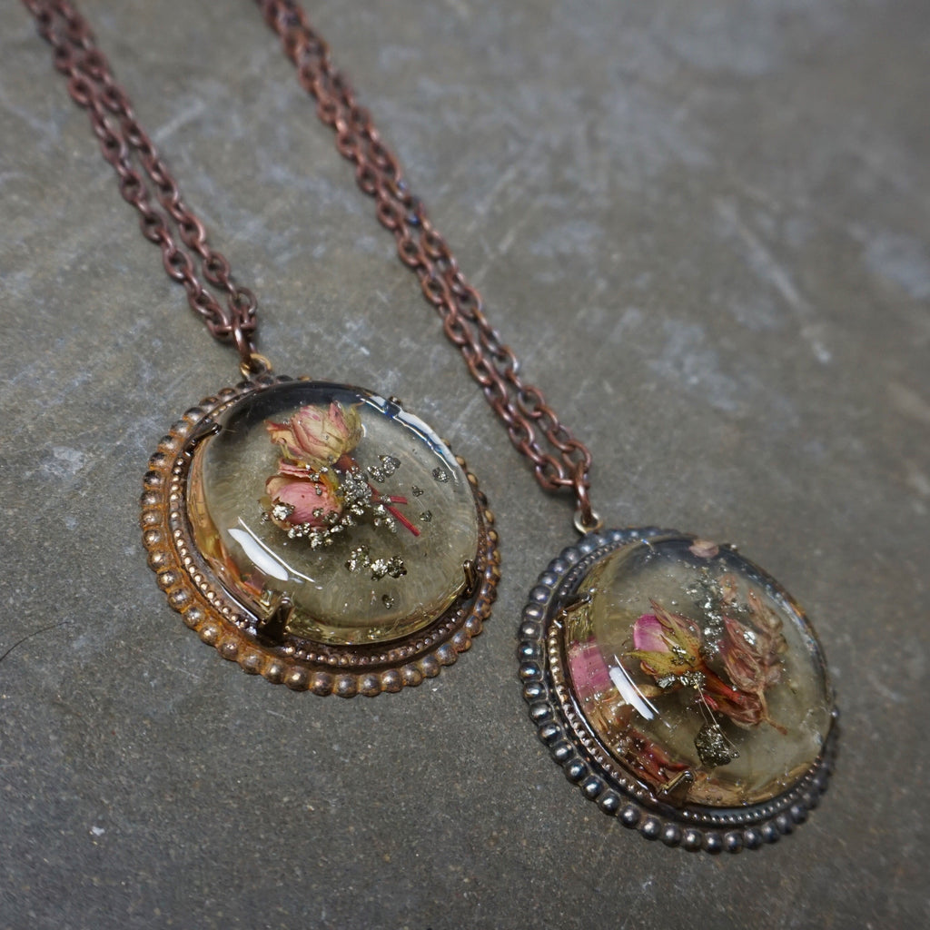 Rose & Pyrite Medallion Necklace