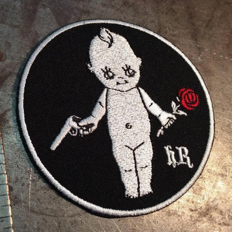 kewpie doll with rose embroidered patch - Heyltje Rose Shop