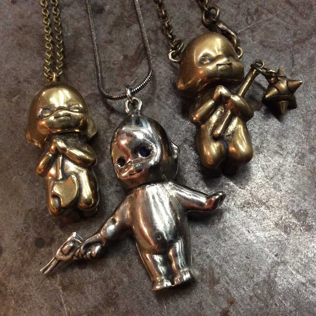 Berserker Baby Kewpie Necklaces battle ax - revolver - mace - Heyltje Rose Shop