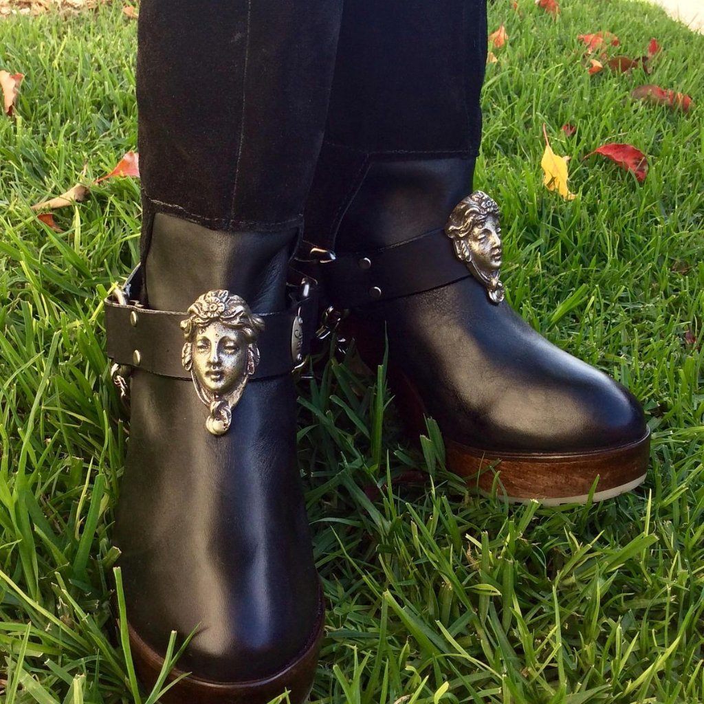Leather Boot Straps chains biker cowboy Muse - Heyltje Rose Shop