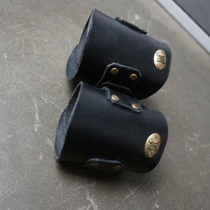 two custom Black leather Cuffs gauntlets for metal working support with brass hardware - Heyltje Rose Shop