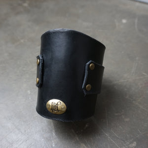 custom Black leather Cuff gauntlet with brass hardware front - Heyltje Rose Shop
