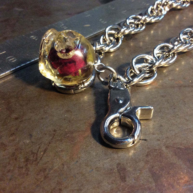 Rose In Skull Necklace