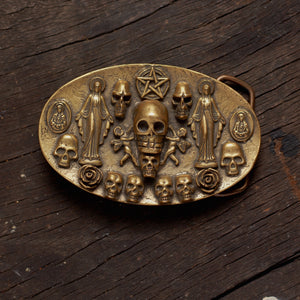 Saints & Sinners Belt Buckle in Brass - Heyltje Rose Shop