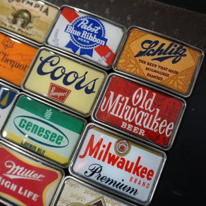 Vintage Beer and Champagne Label Coors Pabst Old Milwaukee Belt Buckles