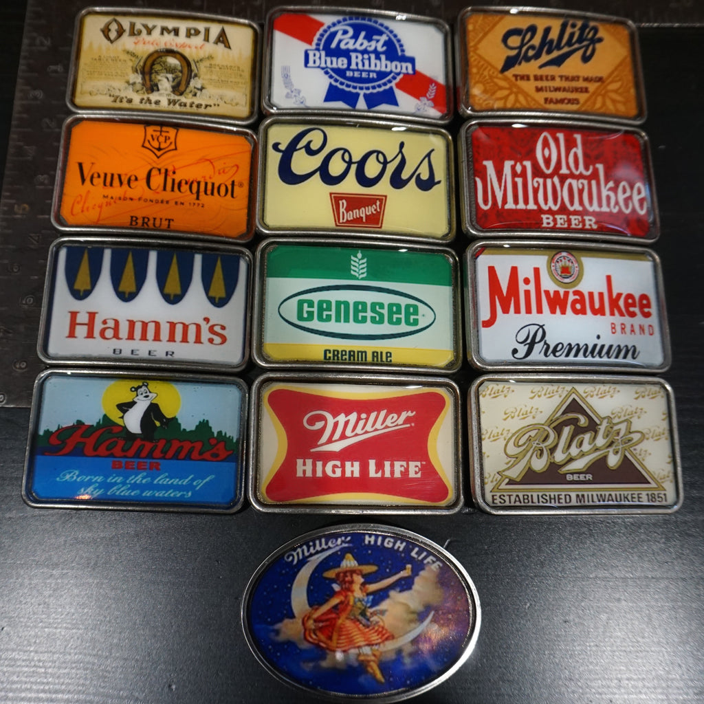 Vintage Beer and Champagne Coors Pabst Hamms Belt Buckles - Heyltje Rose Shop